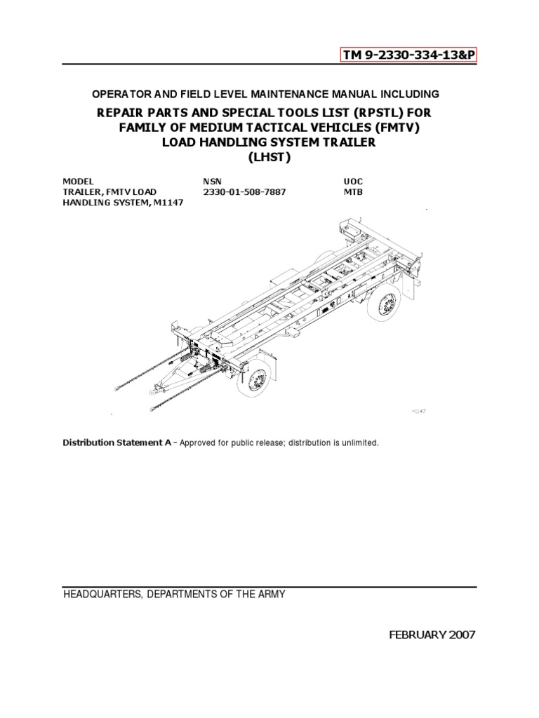 TM 9-2330-334-13P M1147 FMTV-LHST TRAILER PART 1 | Anti Lock Braking System  | Troubleshooting