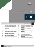 2014 Nissan Warranty Booklet