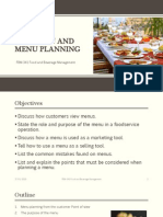 The Menu and Menu Planning