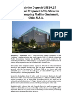 SGX-Listed SingHaiyi to Deposit US$29.25 Million for Proposed 65%-Stake in Major Shopping Mall in Cincinnati, Ohio, U.S.A.