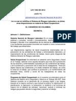 LEY 1562 de 2012 Salud Ocupacional