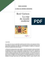 RENE GUENON Et La Crise Du Monde Moderne
