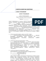 Contoh Surat Perjanjian Sesuai Perpres 54 & 70