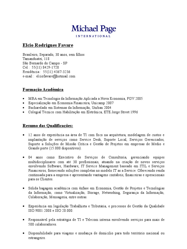exemple cv michael page