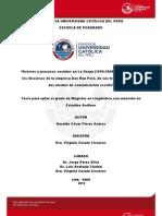 Actores y Procesos en La Oroya. Analisis Del Discurso [T]