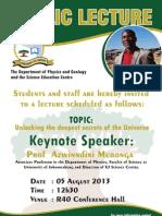 Prof Azwinndini Muronga's talk on 5 August 2013 at the University of Limpopo