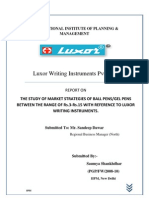 THE STUDY OF MARKET STRATEGIES OF BALL PENS/GEL PENS BETWEEN THE RANGE OF Rs.3-Rs.15 WITH REFERENCE TO LUXOR WRITING INSTRUMENTS.