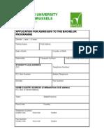 Application Form - Bachelors