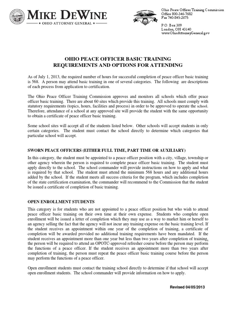 Ohio peace officer basic training requirements and options for ohio peace officer basic training requirements and options for attending recruit training professional certification xflitez Images