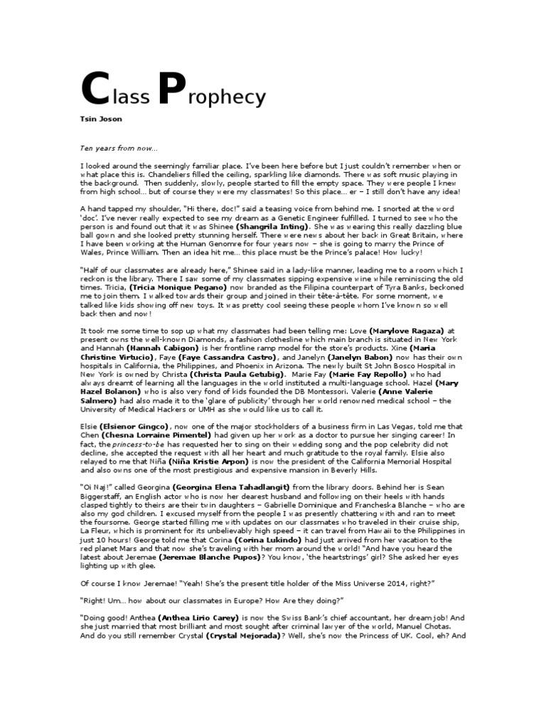 The Class Prophecy – Salutatorian Speech Examples
