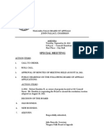 Niagara Falls Zoning Board of Appeals - agenda for Sept. 10, 2013 special meeting
