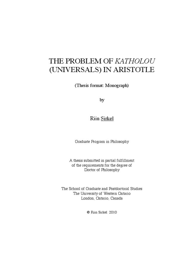 thesis on aristotle