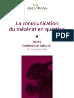 Actes Colloque Admical Communication Du Mecenat(1)