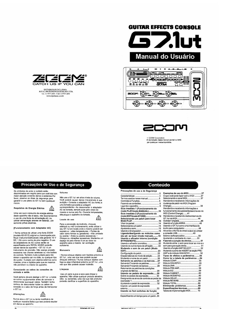 Manual Zoom G7 Português