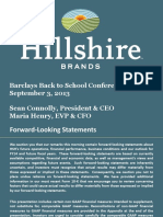 HSH Hillshire Brands Sept 2013 Investor Slide Deck Powerpoint PPT PDF