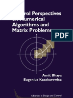 Control Perspectives on Numerical Algorithms and Matrix Problems Advances in Design and Control
