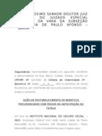 AÇÃO DE CONCESSÃO DE AUXILIO DOENÇA E-OU APOSENTADORIA POR INVALIDEZ
