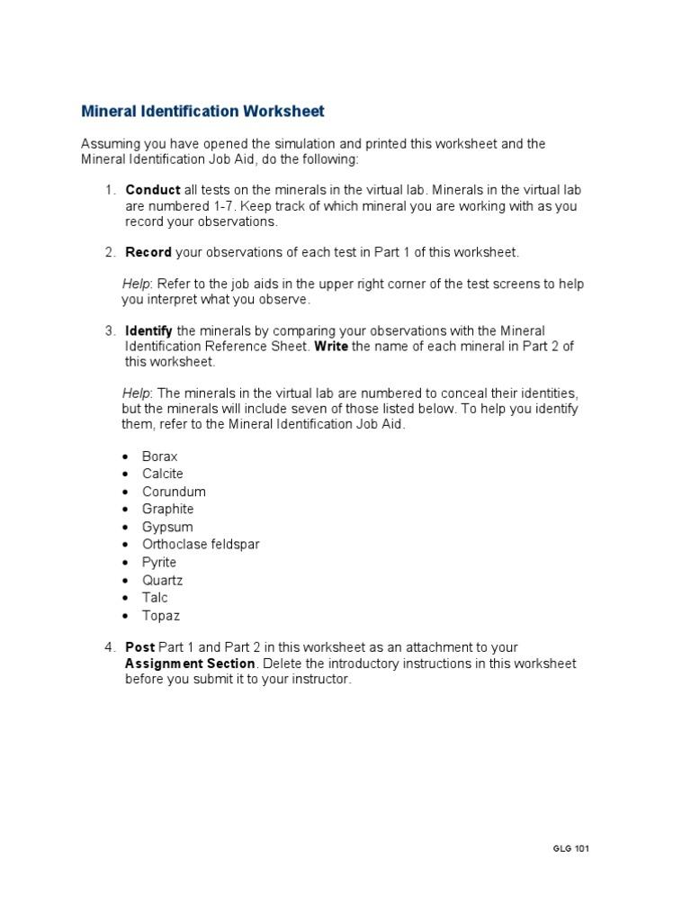 Worksheets Minerals Worksheet glg101r2 appendix c mineral identification worksheet minerals natural materials