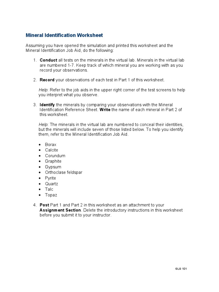 Worksheets Mineral Identification Worksheet glg101r2 appendix c mineral identification worksheet minerals natural materials