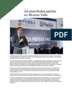 05-09-2013 Puebla on Line - Puebla vivirá unas fiestas patrias inolvidables, Moreno Valle