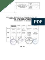 Protocolo de Normas y Procedimientos de Atencion Asociadas a La Atencion de Salud en Servicio Dental