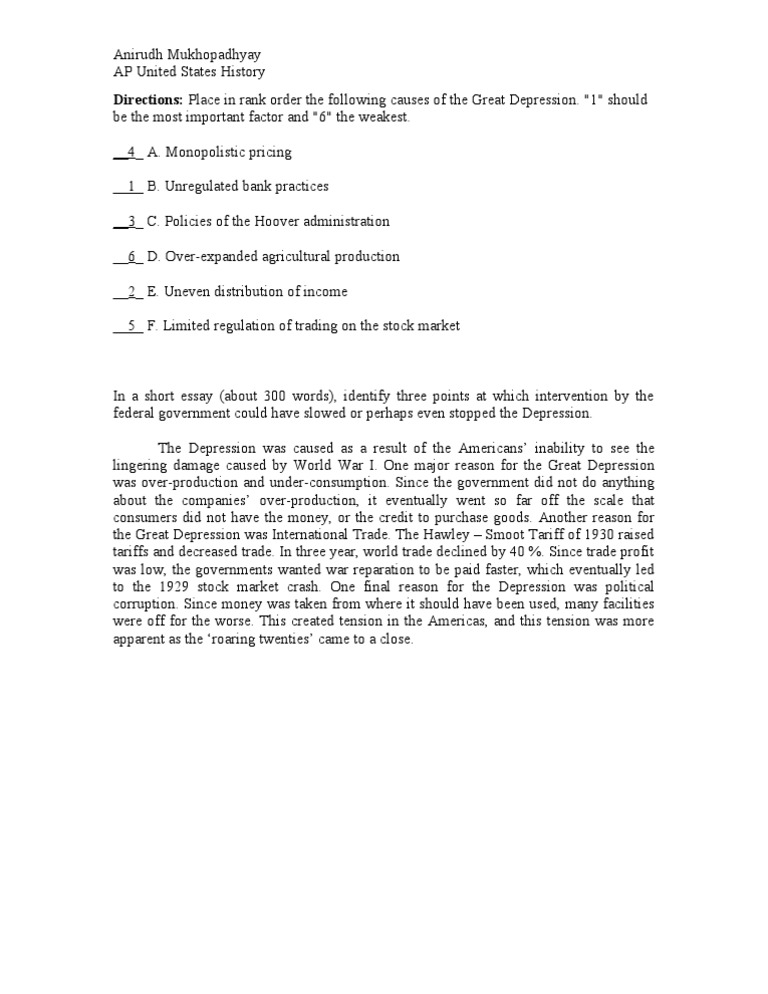 essay outline for the great depression Chapter 16 psychological disorders depression the topic of depression is of special interest to me for a number of reasons depression is very common in.