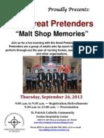 The Great Pretenders present Malt Shop Memories