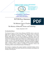 NCTUB Press Statement reference to the BUT and Ministry of Education Science and Technology September 8 2013