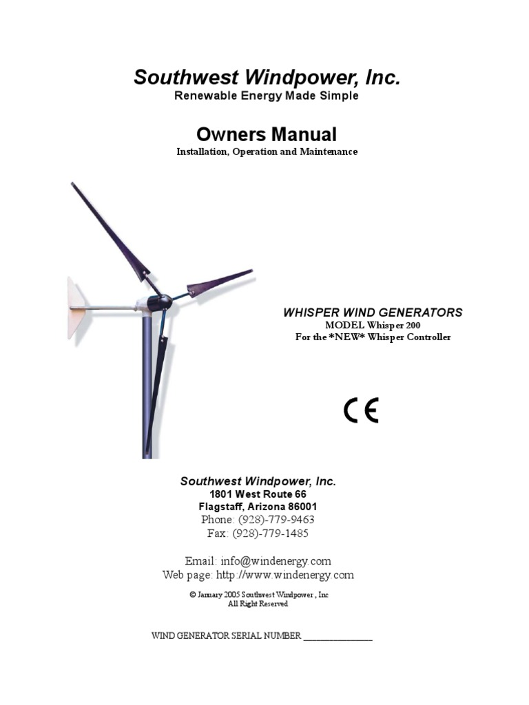 Whisper 1000 Watt User Manual Wind Power Electric Generator Diagram Also Diagrams On Turbine
