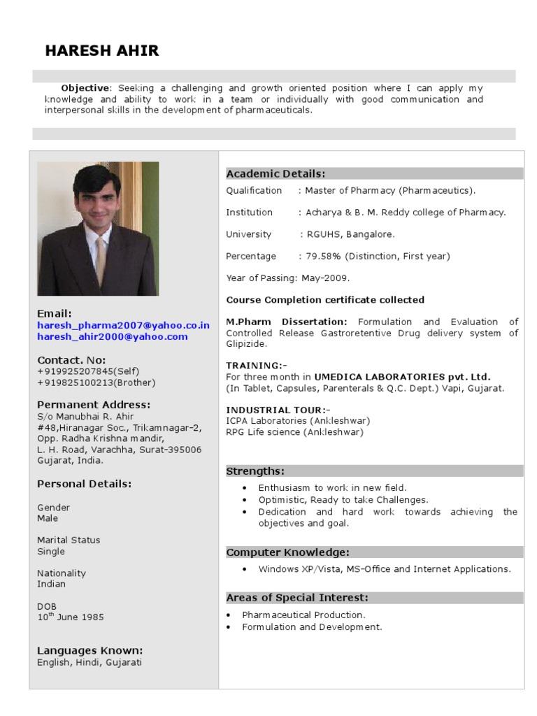 Haresh Biodata Gujarat Pharmacy