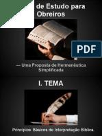 Tema de Estudo para Líderes e Obreiros - Hermenêutica Simplificada