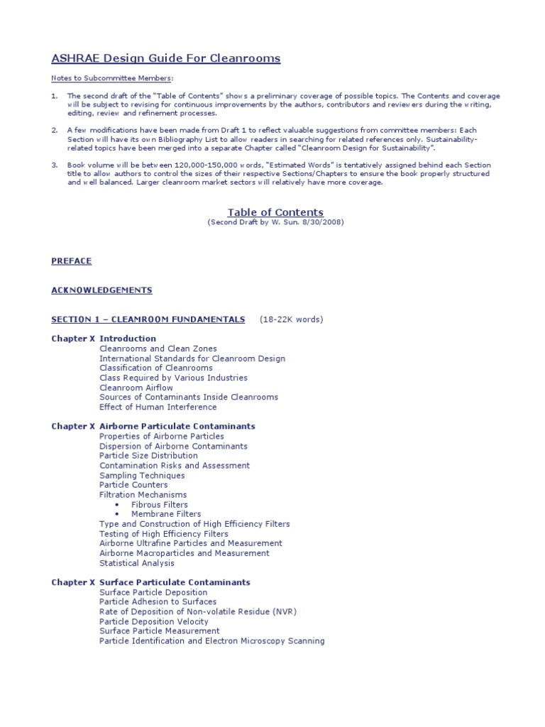 Ash Rae Clean Room Design Guide Content Draft Hvac Applied And