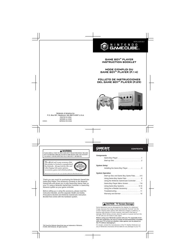 Game Boy® Player Instruction Booklet Mode D'Emploi Du Game