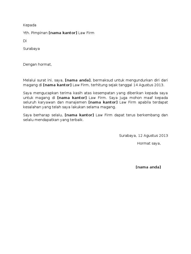 Contoh surat pengunduran diri magang advokat