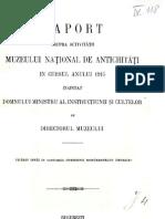 Vasile Pârvan, Raport asupra activităţii Muzeului Naţional de Antichităţi