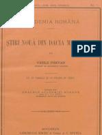 Vasile Pârvan, Ştiri nouă din Dacia Malvensis
