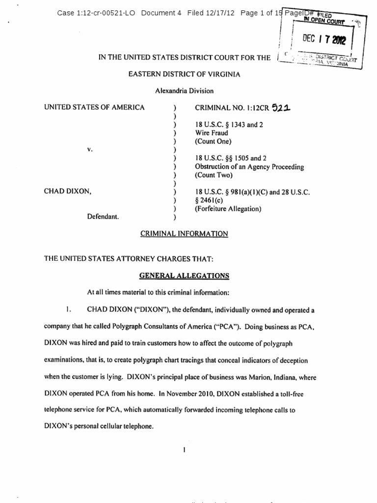Chad Dixon Criminal Information | U S  Customs And Border Protection