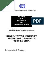 RENDIMIENTOS MANO DE OBRA CONSTRUCCIÓN
