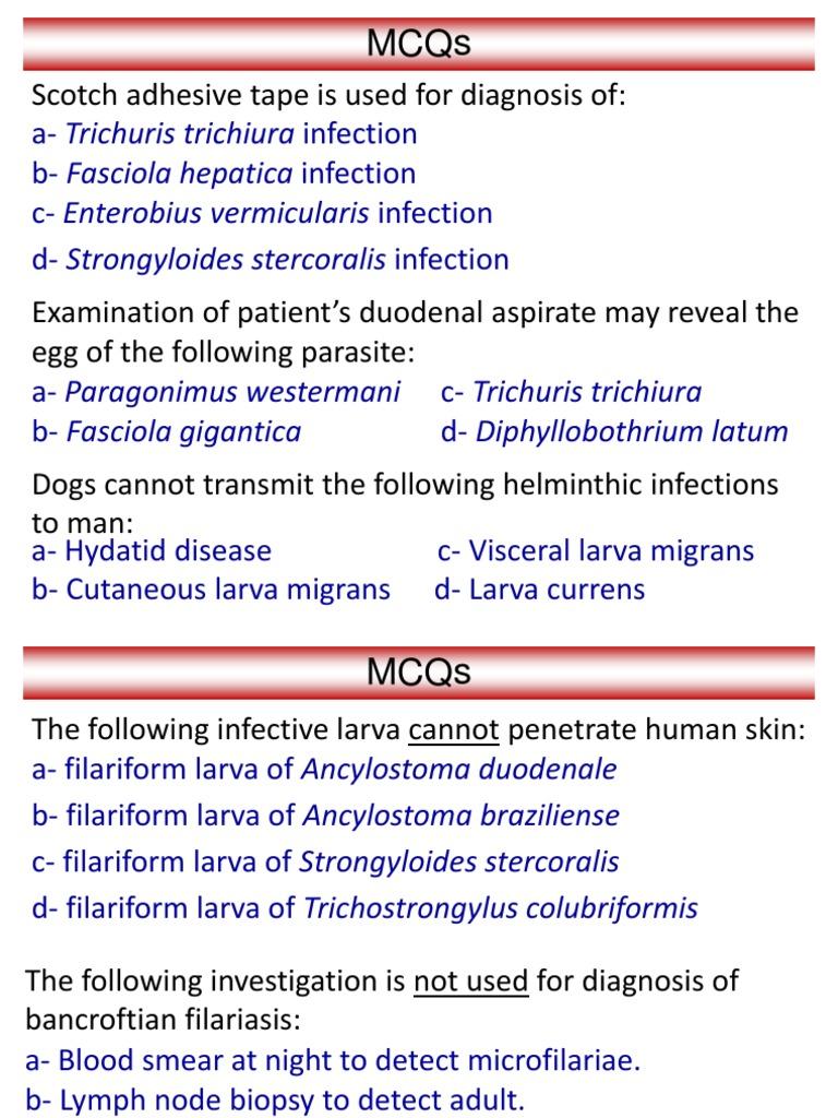 Helminthology mcqs. Microbiology 2 - Helmintologie mcqs