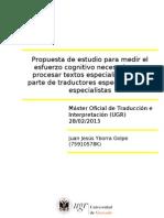 146921498 Propuesta de Estudio Para Medir El Esfuerzo Cognitivo Necesario Para Procesar Textos Especializados Por Parte de Traductores Especializados y Especial