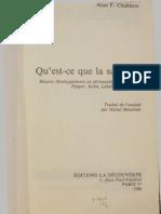 Chalmers - Qu'Est-ce Que La Science (Ed1987)