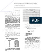Statistical Concepts in the Determination of Weight Variation