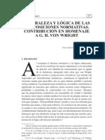 Naturaleza y Lgica de Las Proposiciones Normativas Contribucin en Homenaje a Gh Von Wright 0