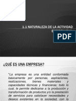 1.1 Naturaleza de La Actividad Empresarial