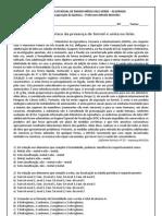 RECUPERAÇÃO TRIMESTRAL 1ano quimica
