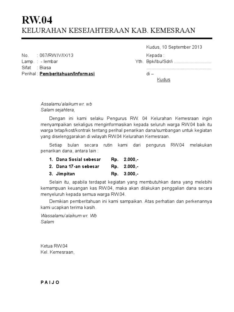 Contoh Surat Edaran Pemilihan Ketua Rt Archives