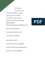 Poema de La Primavera en Ingles