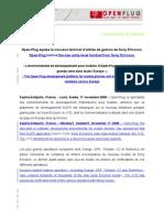 COMMUNIQUÉ de PRESSE Open-Plug éQuipe Le Nouveau Terminal d'Entrée