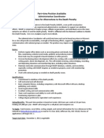 MADP, Job Description, Part-Time Administrator, 2013