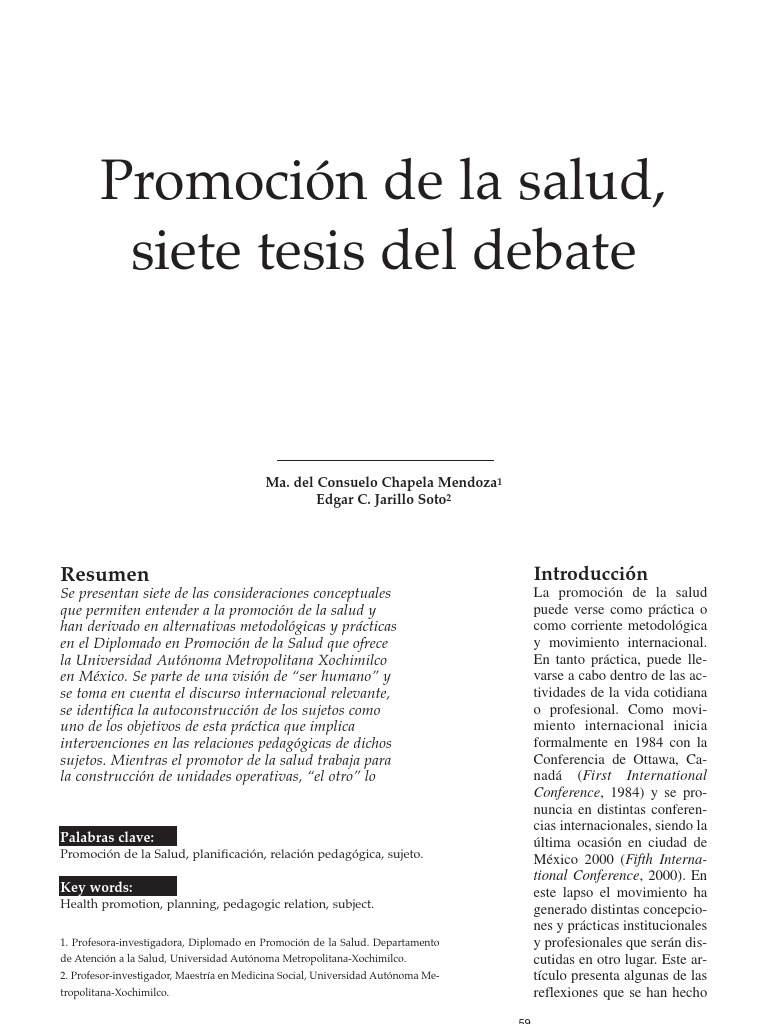 Promocion de La Salud- Siete Tesis